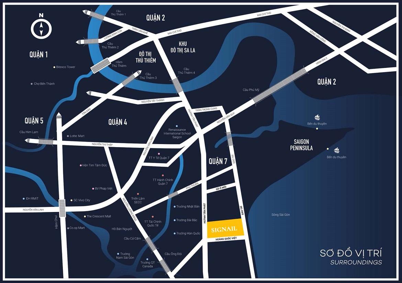 Vị trí địa chỉ dự án căn hộ chung cư smartel officetel Signial Quận 7 đường hoàng Quốc Việt