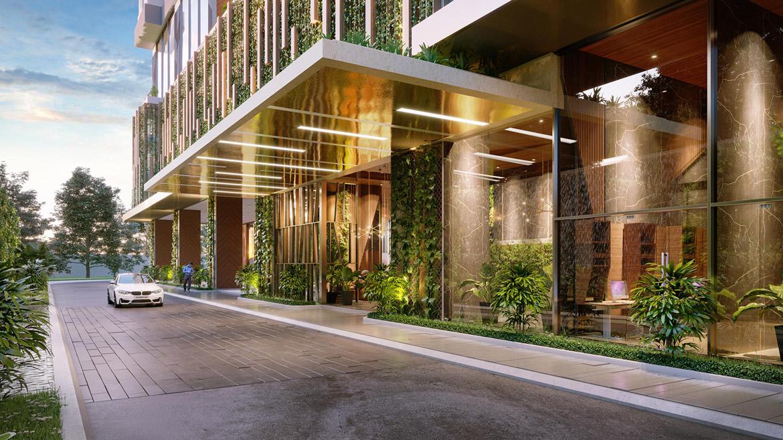 Đường vào sảnh dự án căn hộ smartel Signial quận 7 đường Hoàng Quốc Việt