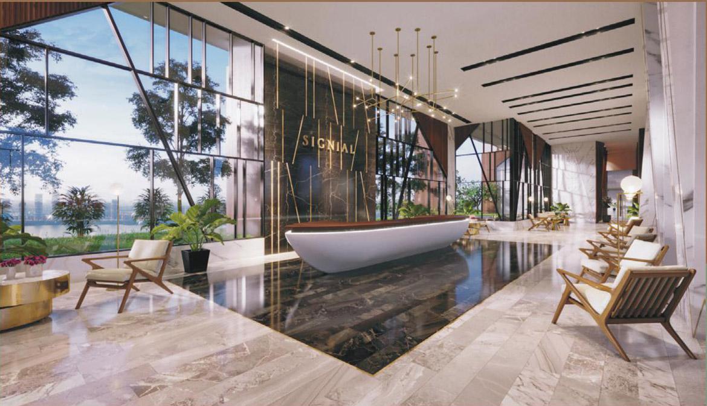 Sảnh đón riêng cư dân tại tầng 7 dự án căn hộ smartel Signial quận 7 đường Hoàng Quốc Việt