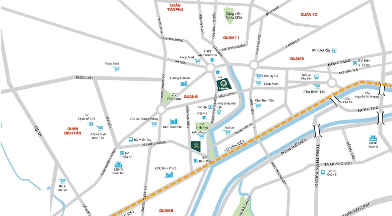 Vị trí địa chỉ dự án căn hộ chung cư SaiGon Asiana Quận 6