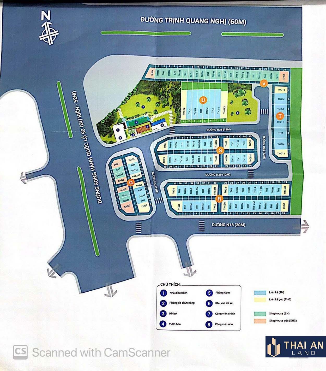 Mặt bằng tổng thể dự án nhà phố Lovera Premier Khang Điền