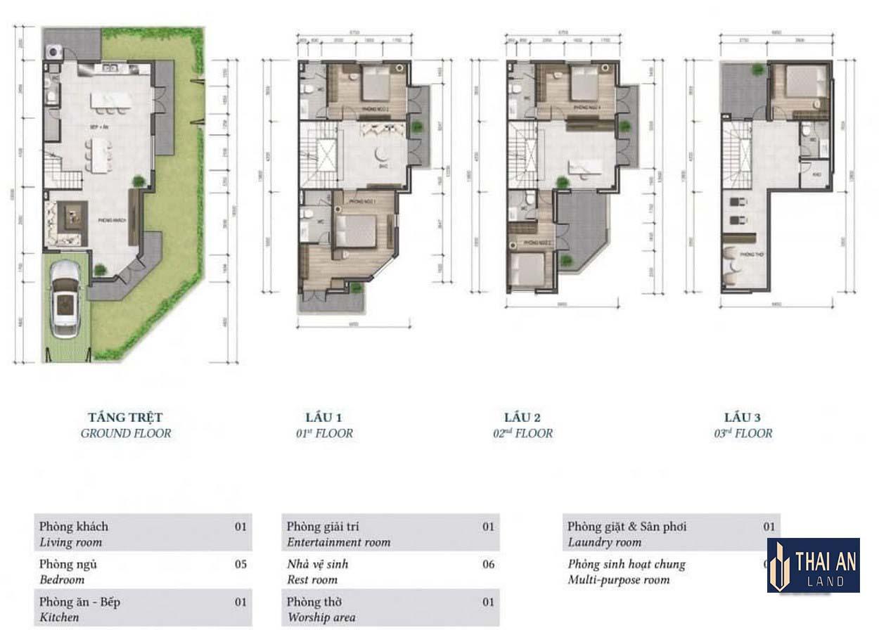 Thiết kế chi tiết nhà phố Lovera Premier Khang Điền