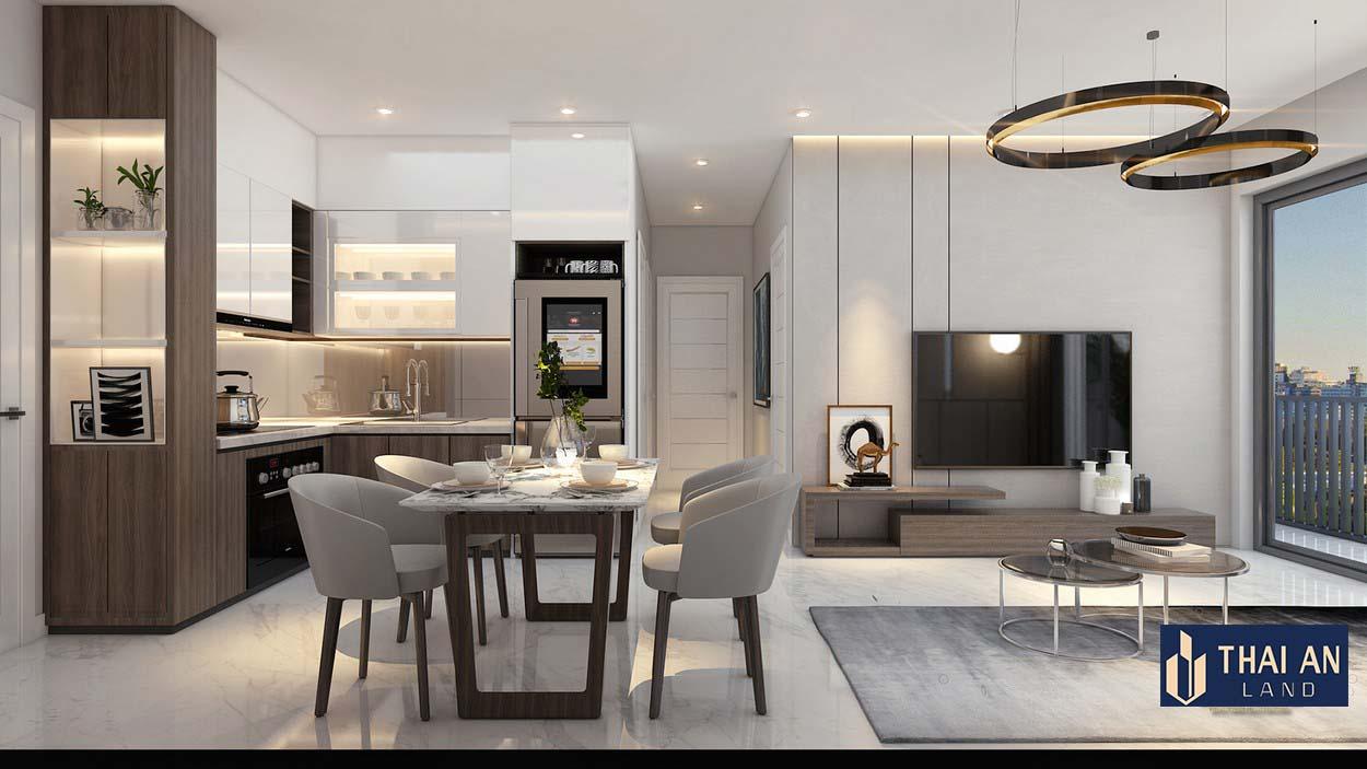 Phòng khách nhà mẫu Lovera Premier Khang Điền