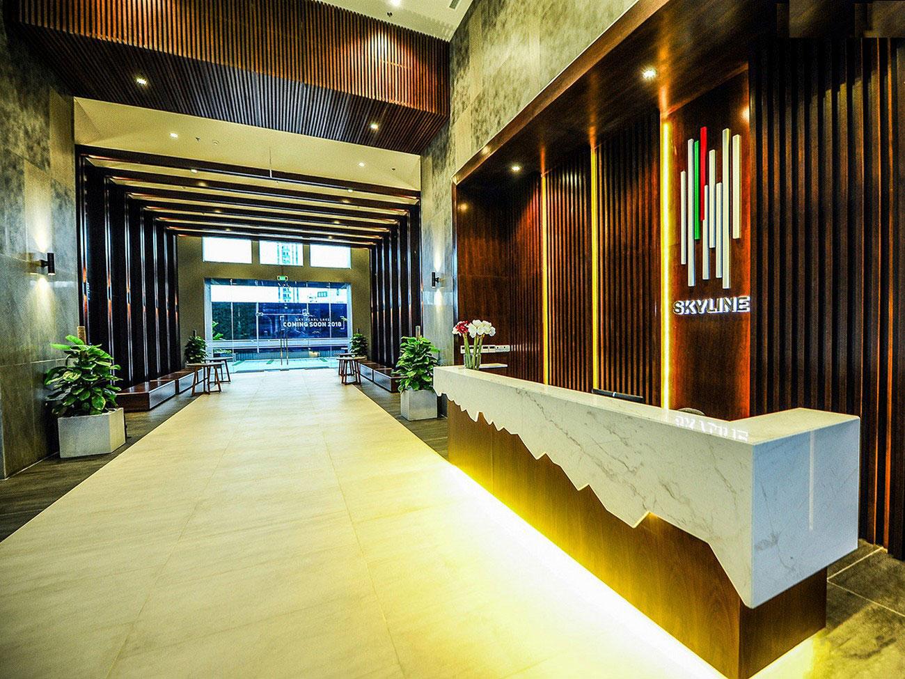Sảnh đón cư dân An Gia Skyline thiết kế chuẩn khách sạn tạo sự đẳng cấp cho mỗi cư dân tại An Gia Skyline