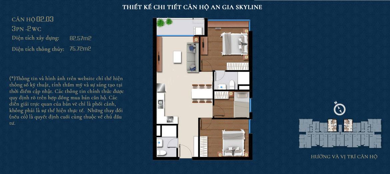 Thiết kế căn hộ An Gia Skyline diện tích 83m2 - Thiết kế 3 Phòng ngủ - 2 Vệ sinh