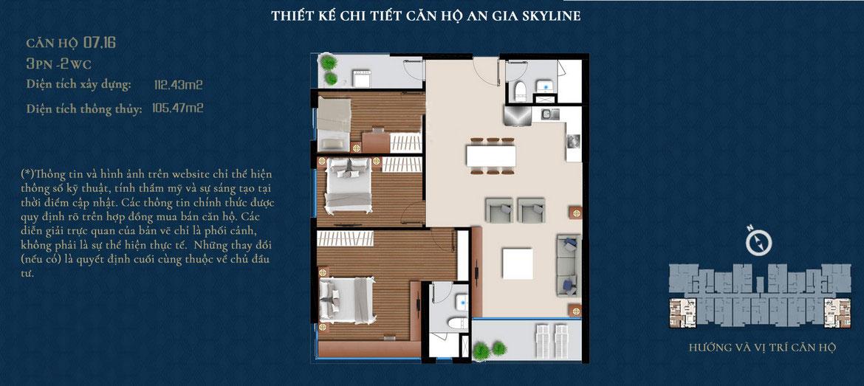Thiết kế căn hộ An Gia Skyline diện tích 112m2 - Thiết kế 3 Phòng ngủ - 2 Vệ sinhThiết kế căn hộ An Gia Skyline diện tích 112m2 - Thiết kế 3 Phòng ngủ - 2 Vệ sinh