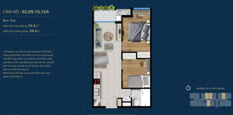 Thiết kế căn hộ 02 phòng ngủ – 1WC Mã căn hộ: 02,09,19,12A Diện tích xây dựng: 55.3m2 Diện tích thông thủy: 50.2m2 Hướng view: Công Viên nội khu, Kênh Đào, Hồ Sky Pear, Sông Sài Gòn