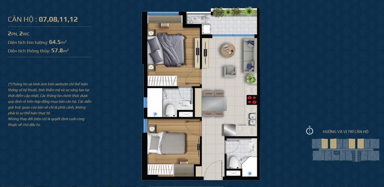 Thiết kế căn hộ 02 phòng ngủ – 2WC Mã căn hộ: 07,08,11,12 Diện tích xây dựng: 64.5m2 Diện tích thông thủy: 57.8m2 Hướng view: Công Viên nội khu, Kênh Đào, Hồ Sky Pear Sông Sài Gòn, Quận 1