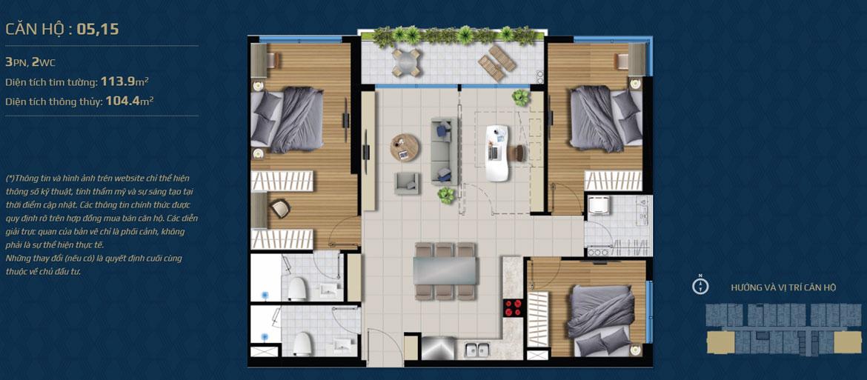 Thiết kế căn hộ 03 phòng ngủ – 2WC Mã căn hộ: 05,15 Diện tích xây dựng: 113.9m2 Diện tích thông thủy: 104.4m2 Hướng view: Công Viên nội khu, Kênh Đào, Hồ Sky Pear Sông Sài Gòn, Quận 1