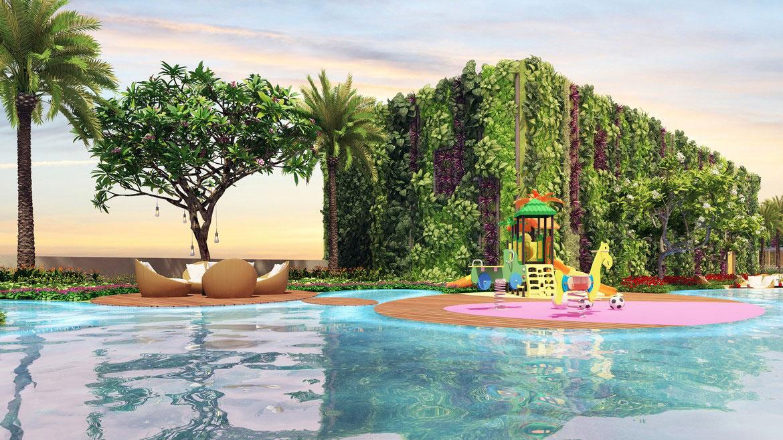 Hồ bơi tầng 35 và khu công viên nước trẻ em dự án căn hộ chung cư River Panorma Quận 7