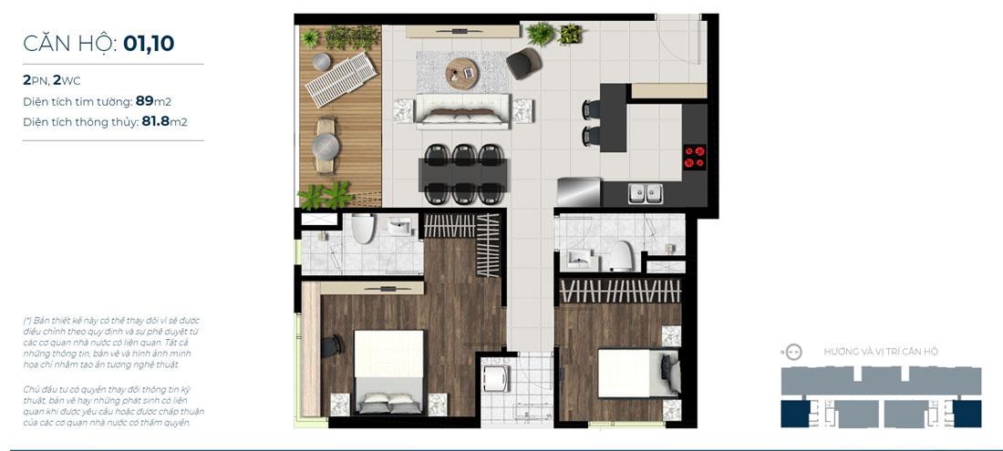 Thiết kế căn hộ 02 phòng ngủ - 2WC Mã căn hộ: 01,10 Diện tích xây dựng: 89m2 Diện tích thông thủy: 81,8 Hướng view: Sông Sài Gòn, Hồ Sky Pear, Kênh Đào Canal.