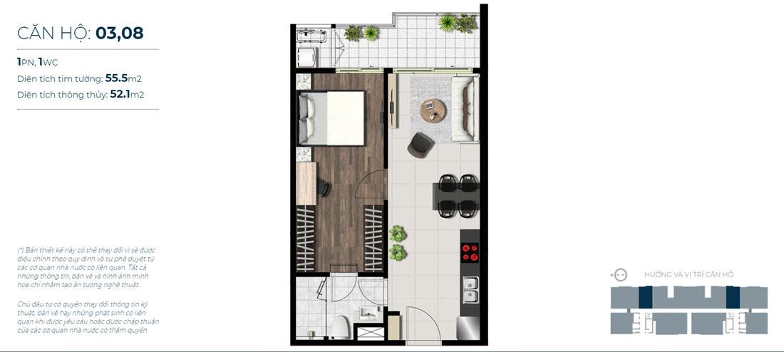 Thiết kế căn hộ 01 phòng ngủ Mã căn hộ: 03,08 Diện tích xây dựng: 55,1m1 Diện tích thông thủy: 52,1m2 Hướng view: Hướng Sông Sài Gòn, Cầu Phú Mỹ