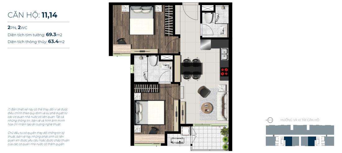 Thiết kế căn hộ 02 phòng ngủ - 02 WC Mã căn hộ: 11,14 Diện tích xây dựng: 69m2 Diện tích thông thủy: 63,4m2 Hướng view: Công Viên nội khu, Kênh Đào, Hồ Sky Pear
