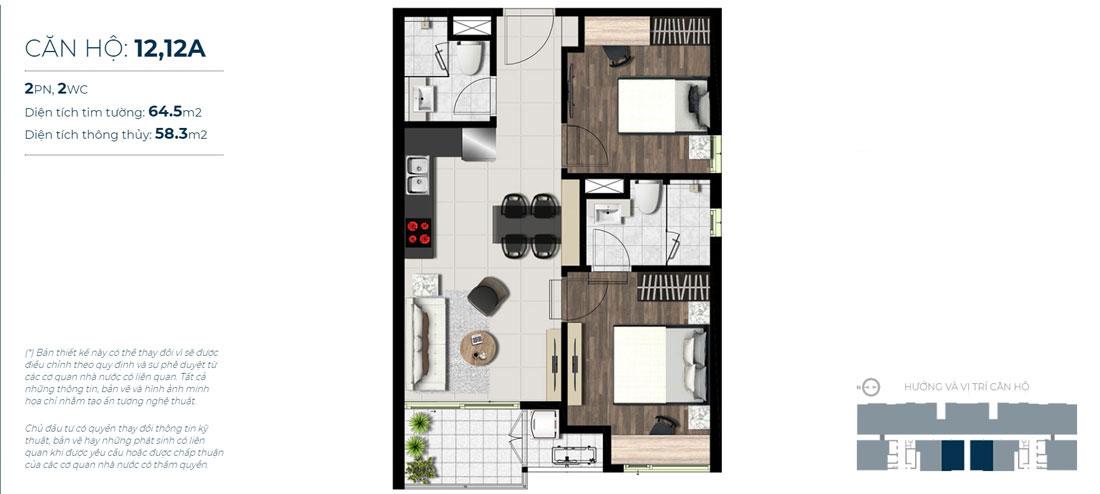Thiết kế căn hộ 02 phòng ngủ - 2WC Mã căn hộ: 12,12A Diện tích xây dựng: 64,5m2 Diện tích thông thủy: 58,3m2 Hướng view: Công Viên nội khu, Kênh Đào, Hồ Sky Pear