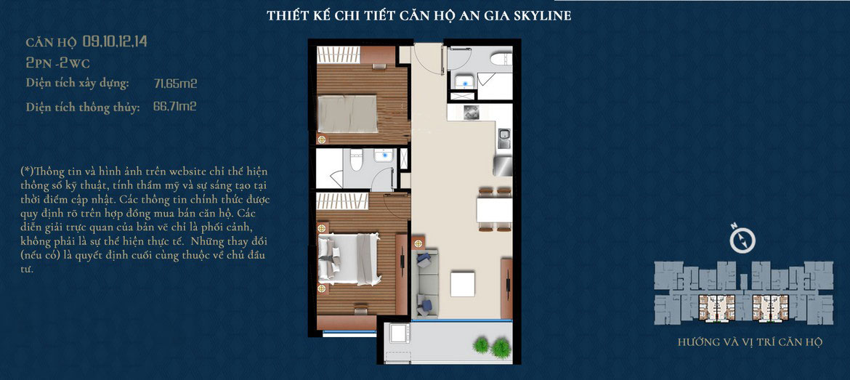 Thiết kế căn hộ An Gia Skyline diện tích 72m2 - Thiết kế 2 Phòng ngủ - 2 Vệ sinh
