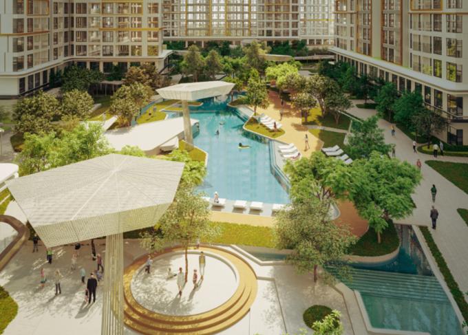 Masteri Centre Point mang đến những trải nghiệm đáng giá cho mỗi gia đình với không gian sống đẳng cấp, hài hòa cùng thiên nhiên dựa trên sự thấu hiểu nhu cầu sống sang của khách hàng. Ảnh phối cảnh:Masterise Homes.
